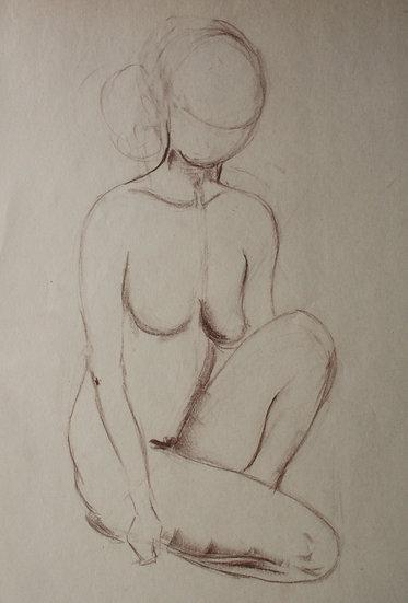 """Large Vintage Drawing, c.1950 - """"Female Nude Sketch"""" #16"""
