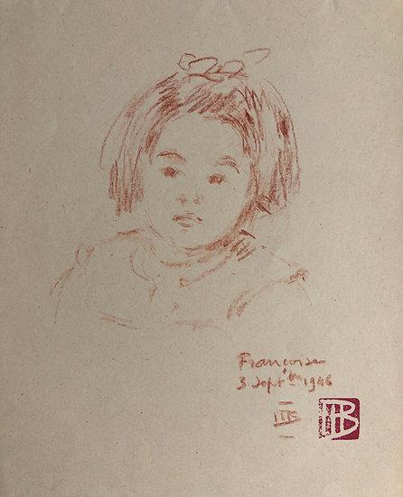 "Marcel Bernanose - Dessin - ""Portrait de Fillette"" 1946 - Indochine Vietnam #2"