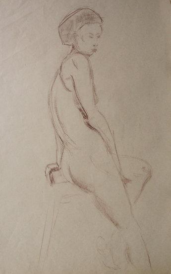"""""""Étude de Nu féminin / Femme nue"""", c.1950 - Grand Dessin au Pastel #11"""
