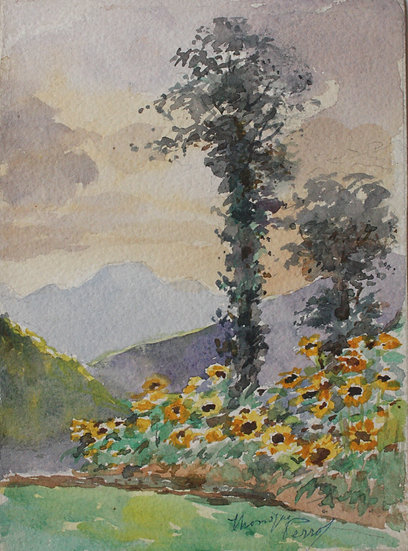 "Monique Perrot - Original watercolor - ""French landscape : View of Seix"" Ariège"