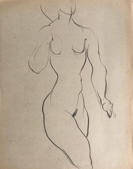 """Cesar Bolletti - Dessin Original, c. 1940 - """"Étude de Nu Féminin"""" #23"""