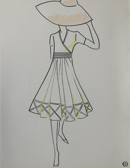 "Jean Eden - Original Vintage Drawing, c.1970 - ""Fashion Sketch"" #12"