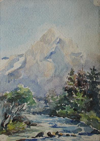 """Monique Perrot - Aquarelle originale - """"Paysage de Montagnes"""""""