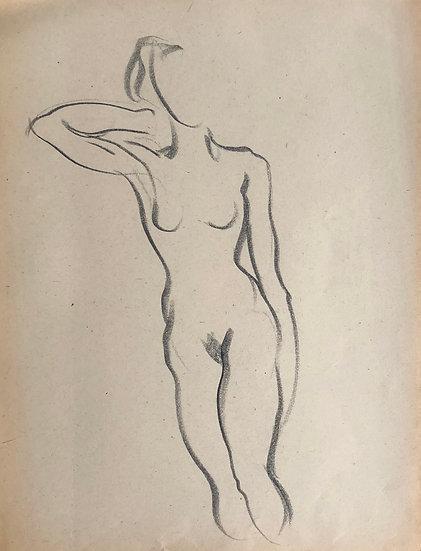 """Cesar Bolletti - Dessin Original, c. 1940 - """"Étude de Nu Féminin"""" #19"""