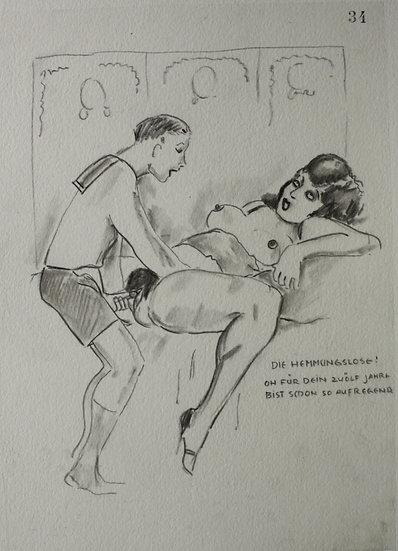 "Ludwig BOCK (1886-1971) - ""Scène érotique"" - Dessin Original #4"