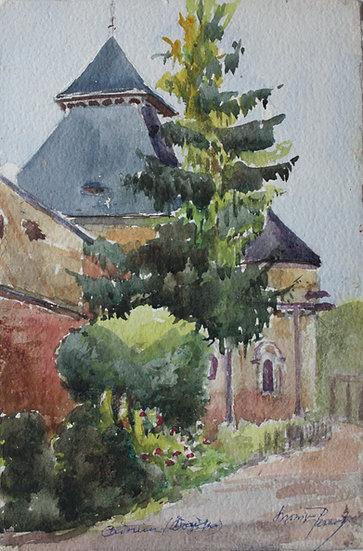 """Monique Perrot - Aquarelle Originale - """"Abbaye de Cadouin en Dordogne"""" Paysage"""
