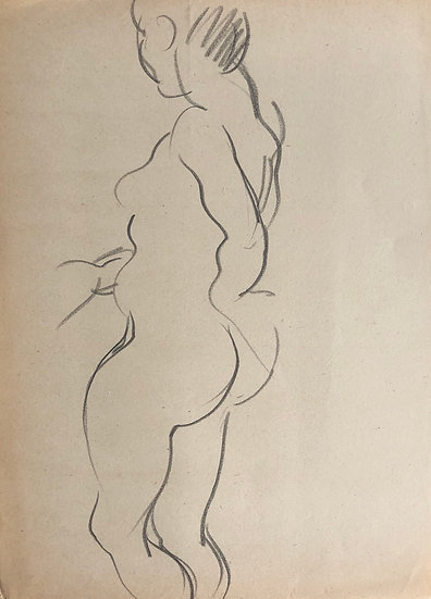 "Cesar Bolletti - Original Vintage Drawing, c.1940 - ""Female Nude Sketch"" #14"