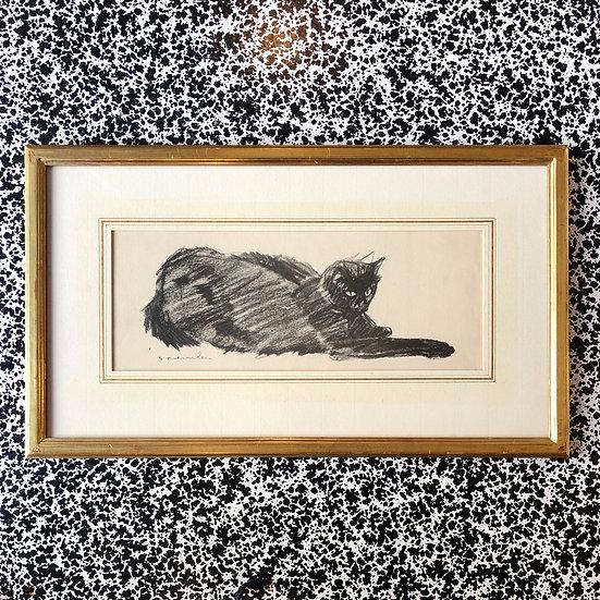 Théophile Alexandre Steinlen - «Chat noir allongé» 1933