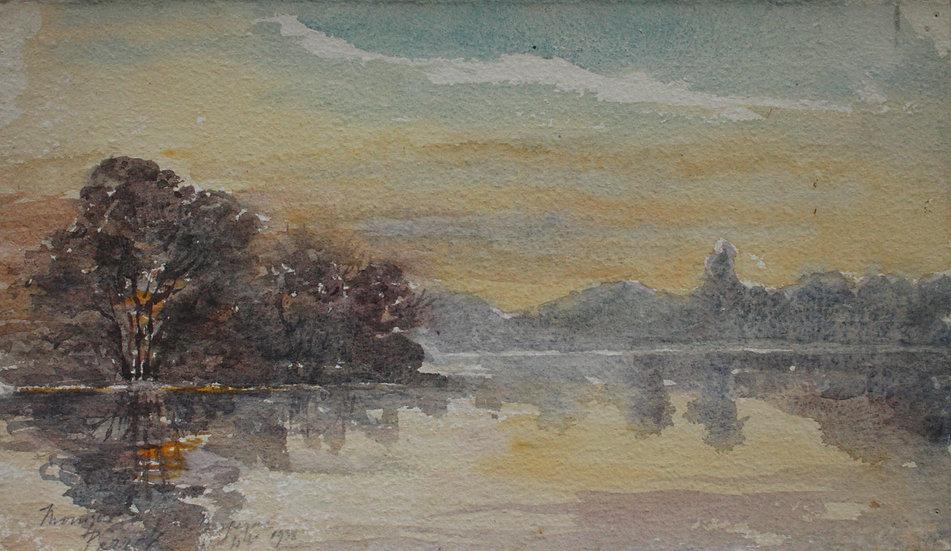 """Monique Perrot, Aquarelle Originale 1938 """"Vue de la Dordogne à Bergerac"""" #15"""