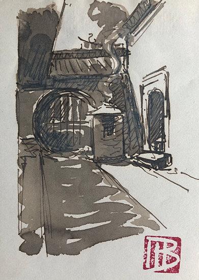 Marcel Bernanose - Original Drawing - Vietnam Indochina Landscape #13