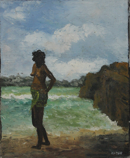 "SAINT-ALBAN - ""Seaside in Seychelles"" 1985 - Oil Painting #7"
