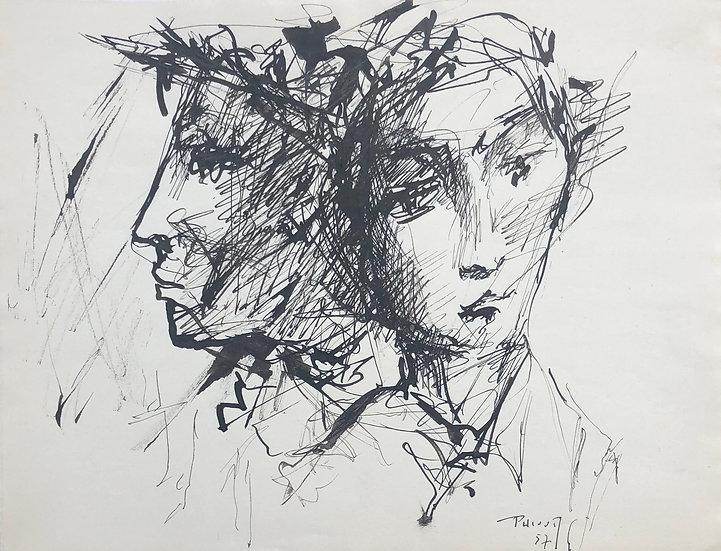 """Jacques Thiout (1913-1971) - """"Double portrait"""" #2"""
