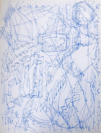 "David Lan-Bar (1912-1987) - ""Personnage et Abstraction"" - Grand Dessin #14"
