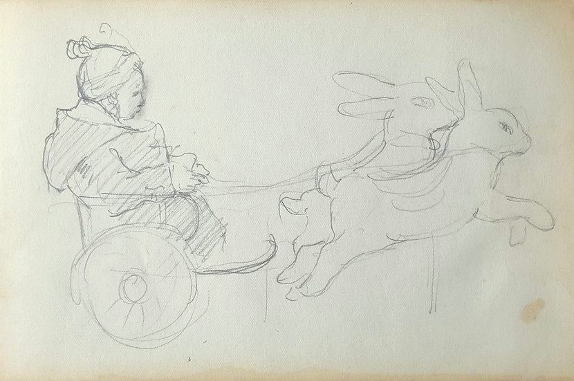François Lanos - Original Vintage Drawing - 1950s #17