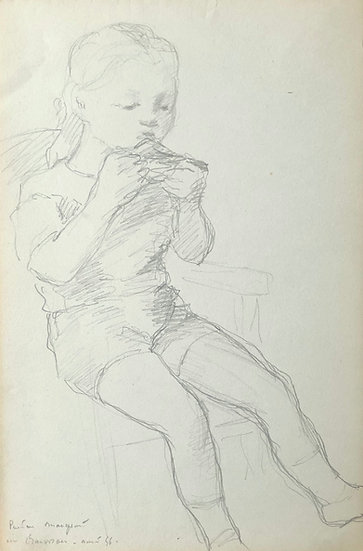 François Lanos - Original Vintage Drawing - 1956 #19