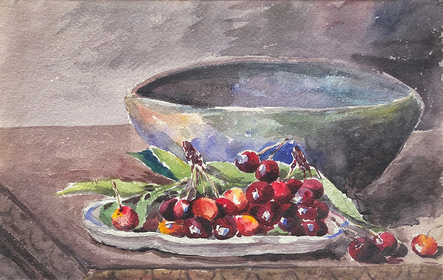 "Monique Perrot - Original Watercolor - ""Still Life with Cherries"" #27"