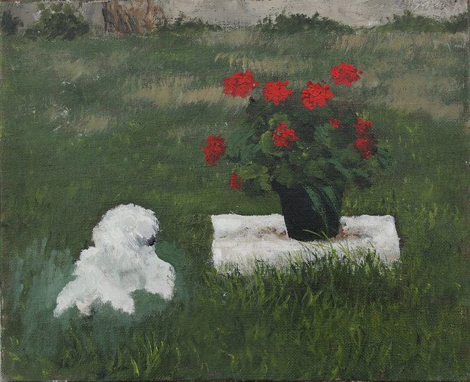 "SAINT-ALBAN - ""Landscape with Geraniums and Dog"" 1996 - Oil Painting #9"