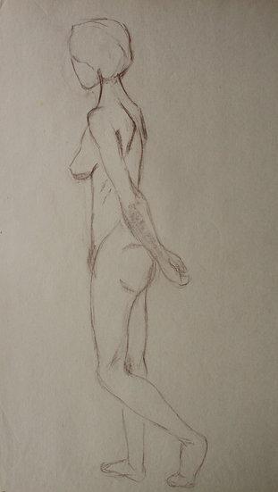 """Large Vintage Drawing, c.1950 - """"Female Nude Sketch"""" #14"""