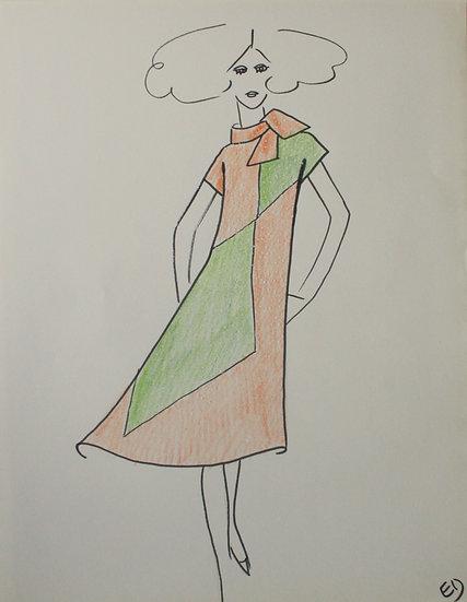 "Jean Eden - Original Vintage Drawing, c.1970 - ""Fashion Sketch"" #16"
