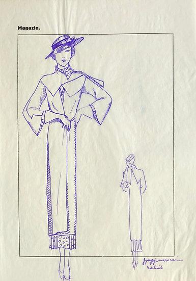 "Original Drawing, 1950s - ""Fashion Sketch"" #3"