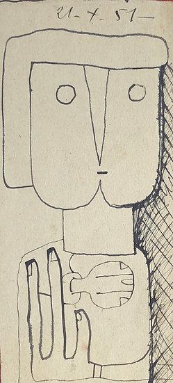 RENÉ AUDEBÈS (1922-1993) - Dessin Ancien 1951 #12