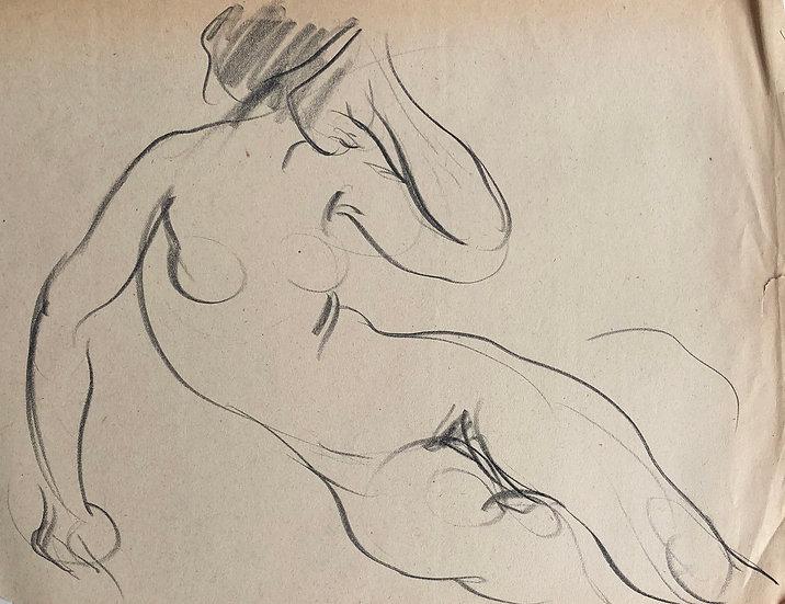 """Cesar Bolletti - Dessin Original, c. 1940 - """"Étude de Nu Féminin"""" #43"""