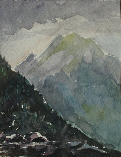 "Monique Perrot - Original Antique Watercolor, 1917 - ""French Landscape, View of the Pic of Houratatère - Gabas"" Mountain"