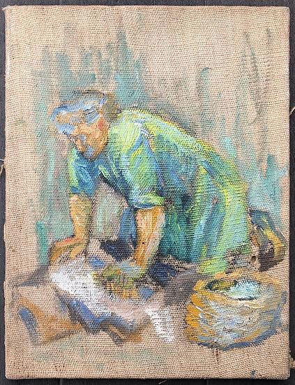 "René Brochard (1926) - Peinture 1955 - ""Lavandière"""