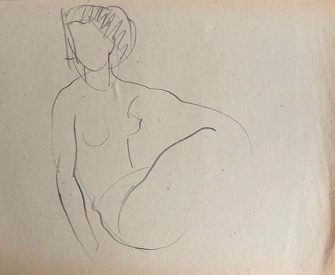 """Cesar Bolletti - Dessin Original, c. 1940 - """"Étude de Nu Féminin"""" #38"""