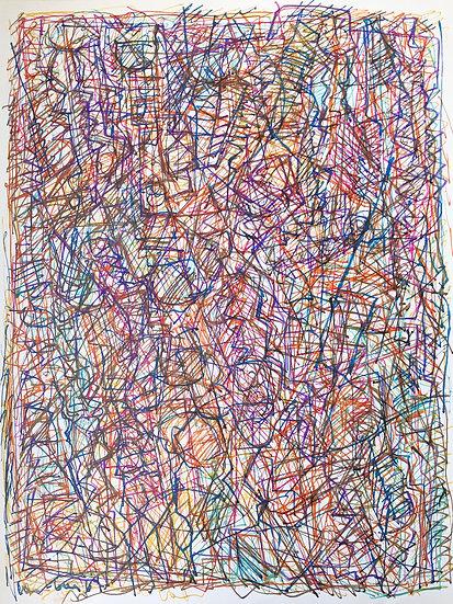 """David Lan-Bar (1912-1987) - """"Abstraction"""" - Grand Dessin #16"""