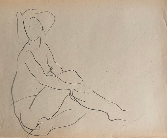"Cesar Bolletti - Original Vintage Drawing, c.1940 - ""Female Nude Sketch"" #49"