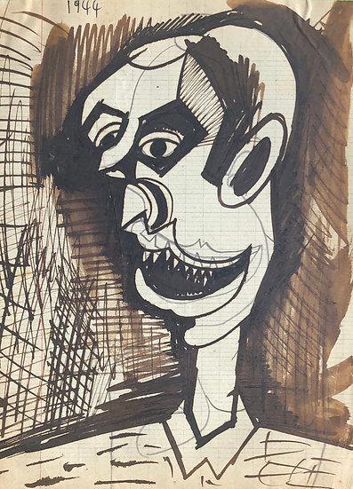 RENÉ AUDEBÈS (1922-1993) - Vintage Drawing 1944 #26