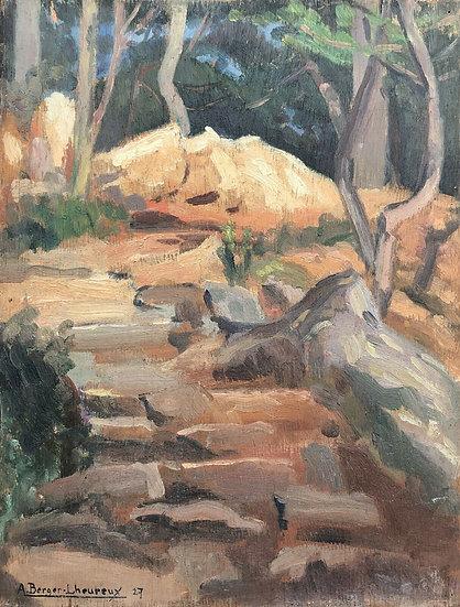 """Berger-Lheureux (1903-1990) - """"View of Sainte-Marguerite, near Toulon"""""""