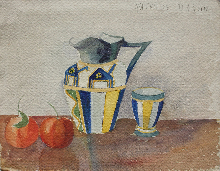 """MATHILDE DAQUIN - """"Still life with pitcher"""" - Art Deco Watercolor, c.1930 #1"""