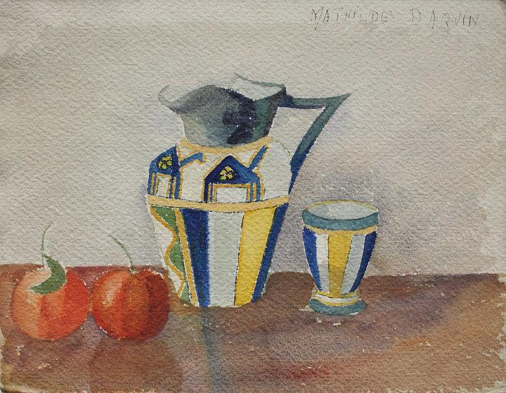 """MATHILDE DAQUIN - """"Nature morte au pichet"""" - Aquarelle c.1930 Art Déco #1"""