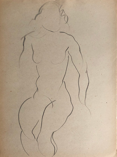 "Cesar Bolletti - Original Vintage Drawing, c.1940 - ""Female Nude Sketch"" #2"