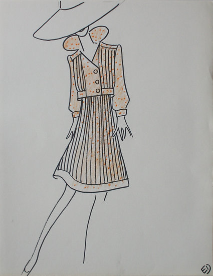 "Jean Eden - Original Vintage Drawing, c.1970 - ""Fashion Sketch"" #2"