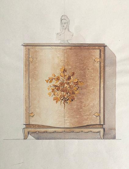 """Maison Piersen"" - Original Vintage Drawing - 1950/1960s #34"