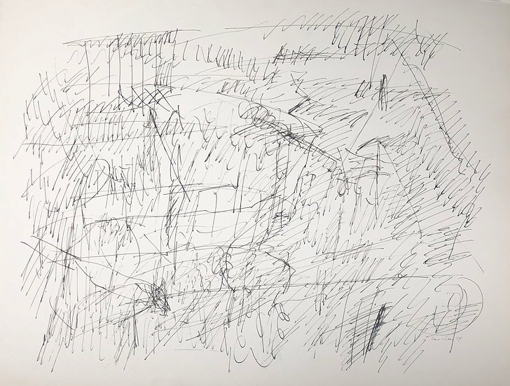 "David Lan-Bar (1912-1987) - ""Abstraction"" - Grand Dessin #3"