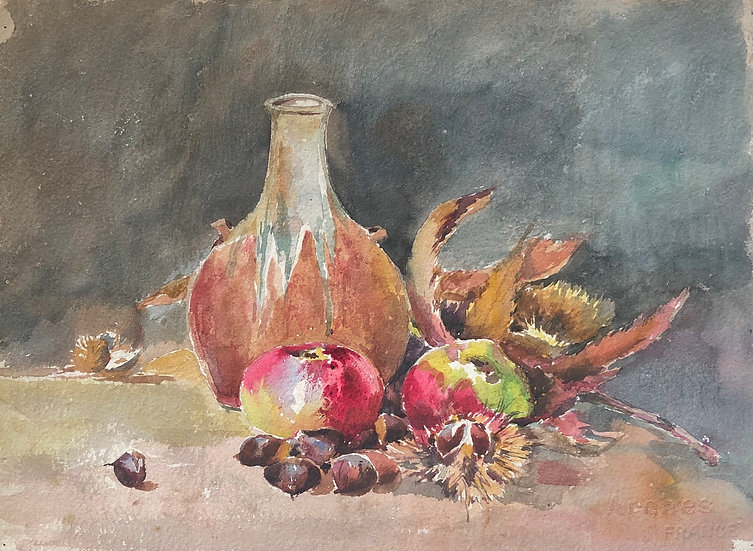 "Monique Perrot - Aquarelle Double-face - ""Nature morte et Paysage"" #31"