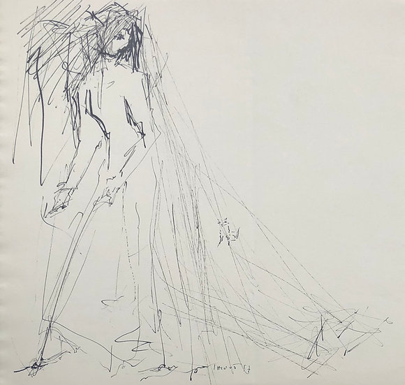 """Jacques Thiout (1913-1971) - """"Femme à la traîne"""" #8"""