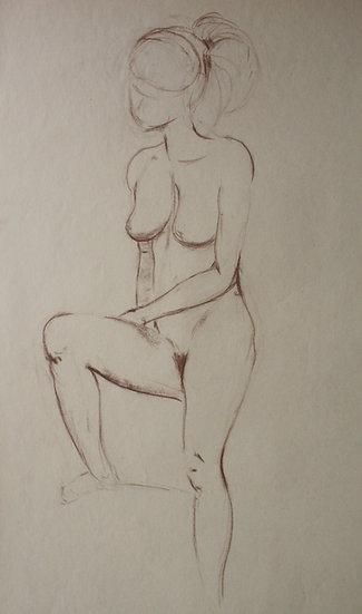 """""""Étude de Nu féminin / Femme nue"""", c.1950 - Grand Dessin au Pastel #10"""