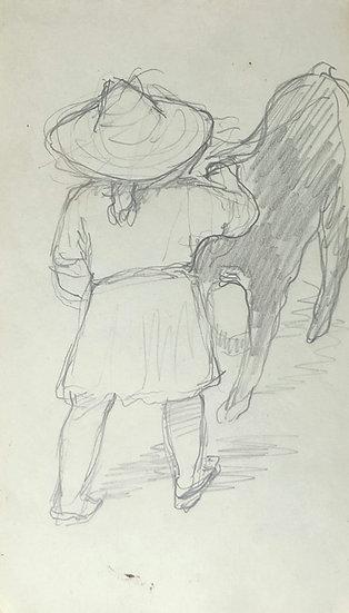 François Lanos - Dessin Original - c.1950 #3