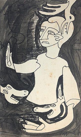 RENÉ AUDEBÈS (1922-1993) - Dessin Ancien 1951 #19