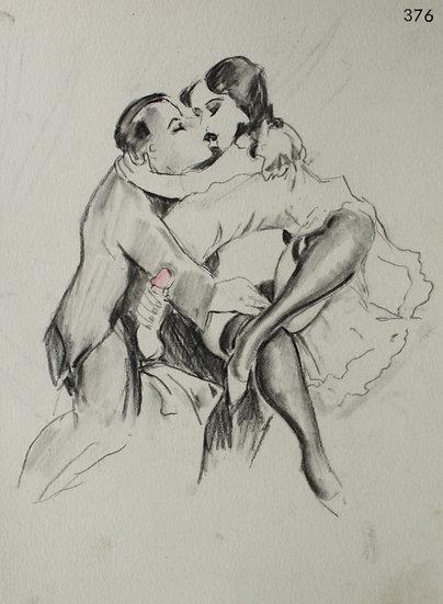 "Ludwig BOCK (1886-1971) - ""Scène érotique"" - Dessin Original #1"