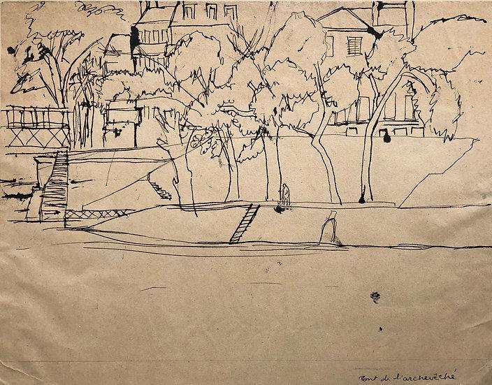 """""""The pont de l'Archevêché in Paris"""" - Original Vintage 1950's Drawing"""