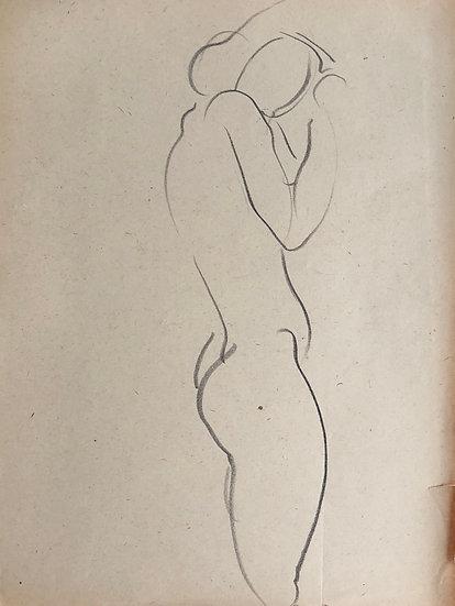"""Cesar Bolletti - Dessin Original, c. 1940 - """"Étude de Nu Féminin"""" #21"""