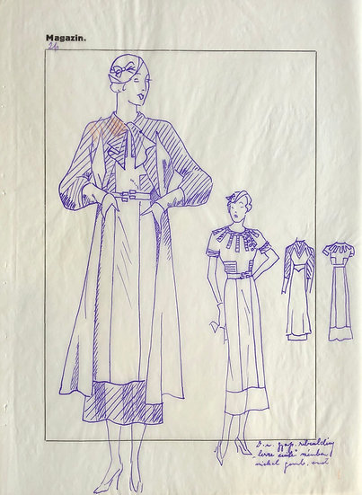 "Original Drawing, 1950s - ""Fashion Sketch"" #15"