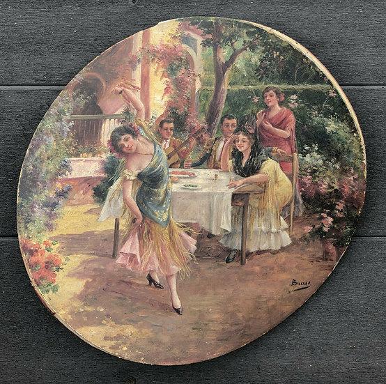 """Antique painted Tambourine - """"Flamenco Dance"""""""