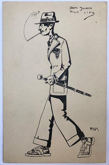 "M. OLLIER - Original Drawing 1925 - ""Don Juan, high life"""